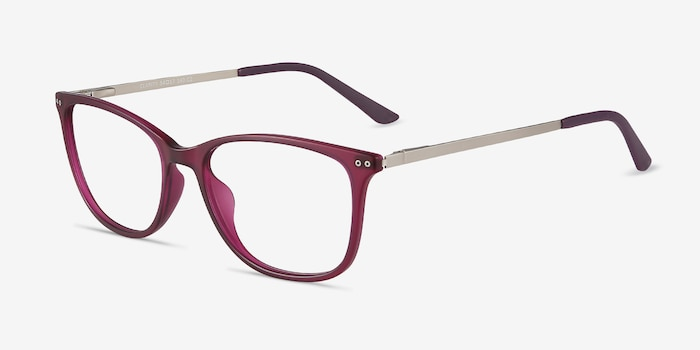 Clarity Purple Metal Eyeglass Frames from EyeBuyDirect, Angle View