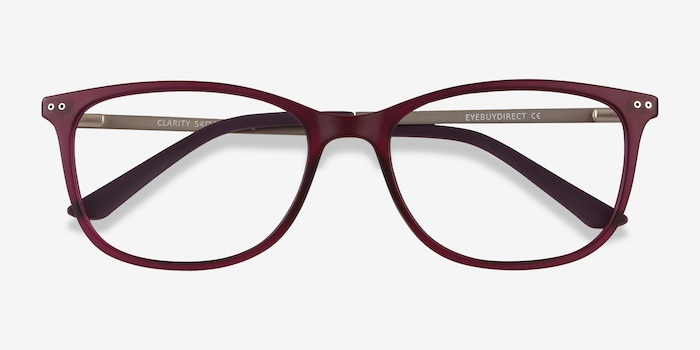 Clarity Purple Metal Eyeglass Frames from EyeBuyDirect, Closed View