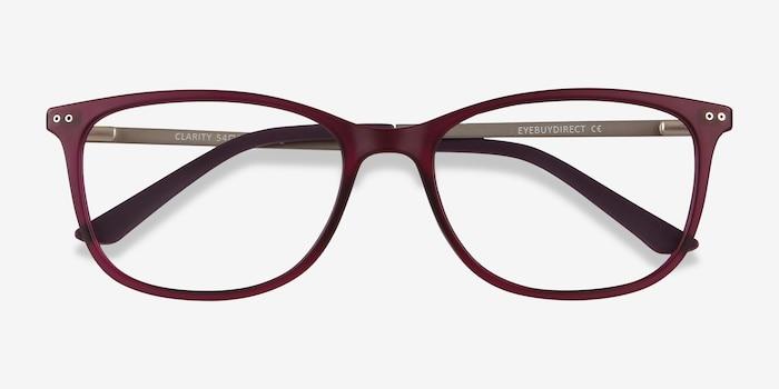 Clarity Violet Métal Montures de Lunettes d'EyeBuyDirect, Vue Rapprochée