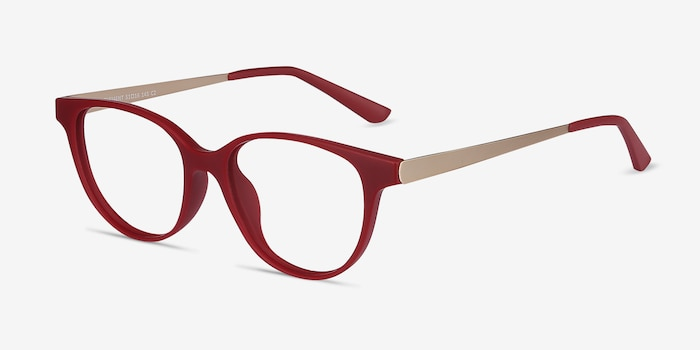 Element Red Metal Eyeglass Frames from EyeBuyDirect, Angle View