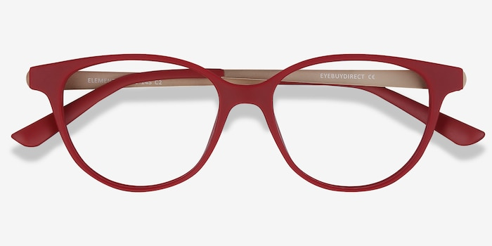 Element Red Metal Eyeglass Frames from EyeBuyDirect, Closed View