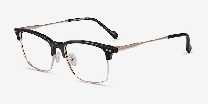 Explorer Black Acetate-metal Eyeglass Frames from EyeBuyDirect, Angle View