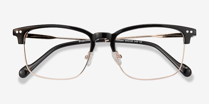 Explorer Black Acetate-metal Eyeglass Frames from EyeBuyDirect, Closed View