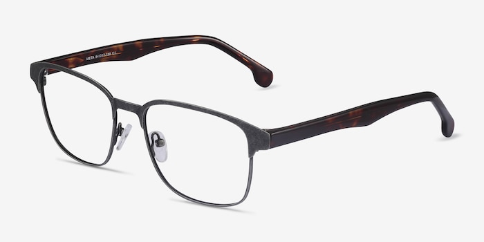 Meta Gunmetal Acetate-metal Eyeglass Frames from EyeBuyDirect, Angle View
