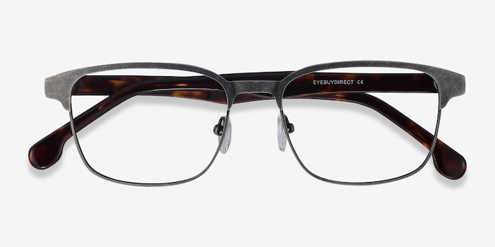 Meta Gunmetal Metal Eyeglass Frames from EyeBuyDirect, Closed View