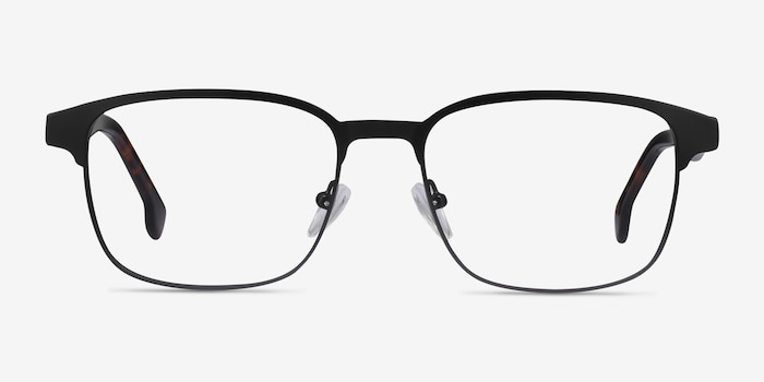 Meta Black Metal Eyeglass Frames from EyeBuyDirect, Front View