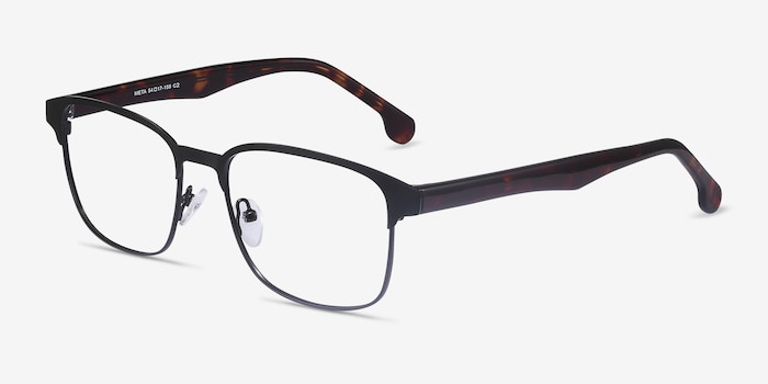 Meta Black Metal Eyeglass Frames from EyeBuyDirect, Angle View