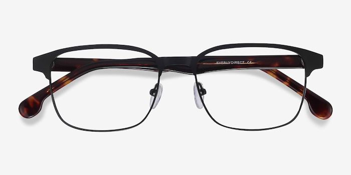 Meta Black Acetate Eyeglass Frames from EyeBuyDirect, Closed View