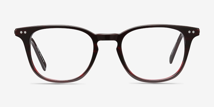 Candor Red Acetate Eyeglass Frames from EyeBuyDirect, Front View
