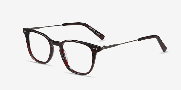 Candor Red Acetate Eyeglass Frames from EyeBuyDirect, Angle View