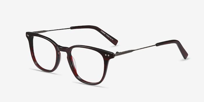 Candor Rouge Acétate Montures de Lunettes d'EyeBuyDirect, Vue d'Angle