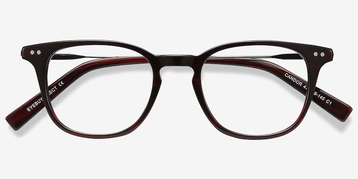 Candor Red Acetate Eyeglass Frames from EyeBuyDirect, Closed View