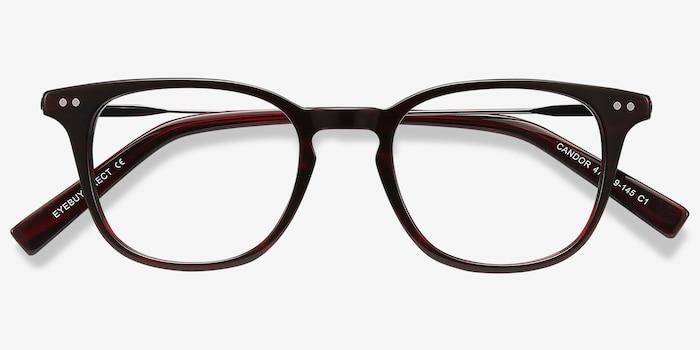 Candor Rouge Acétate Montures de Lunettes d'EyeBuyDirect, Vue Rapprochée