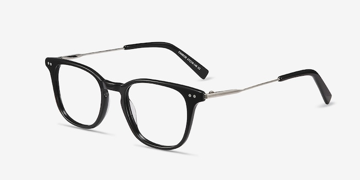 Candor Black Metal Eyeglass Frames from EyeBuyDirect, Angle View