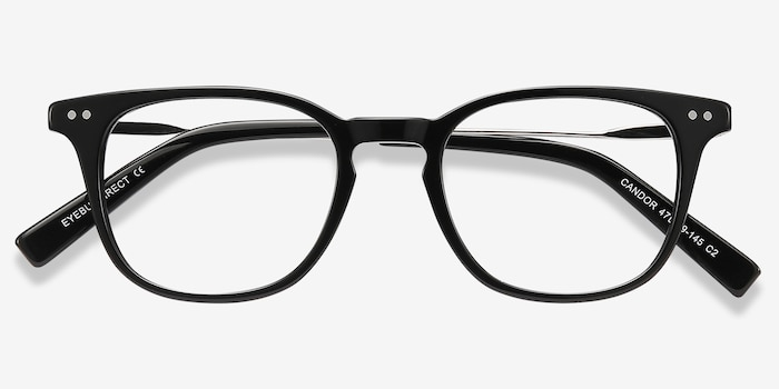 Candor Black Metal Eyeglass Frames from EyeBuyDirect, Closed View