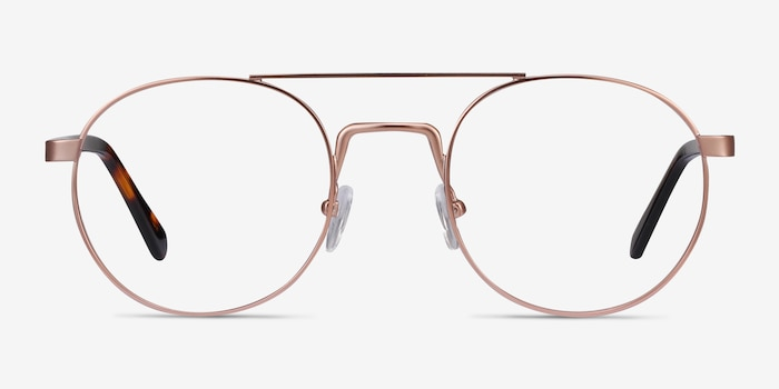Lock Rose Gold Acetate Eyeglass Frames from EyeBuyDirect, Front View