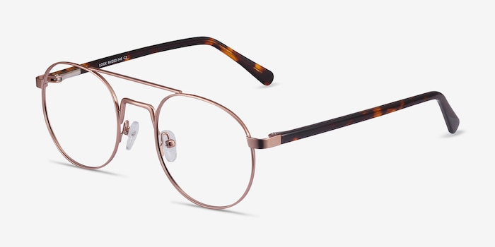 Lock Rose Gold Acetate Eyeglass Frames from EyeBuyDirect, Angle View