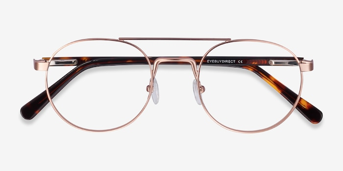 Lock Rose Gold Acetate Eyeglass Frames from EyeBuyDirect, Closed View
