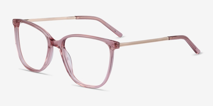 Aroma Pink Acetate-metal Eyeglass Frames from EyeBuyDirect, Angle View