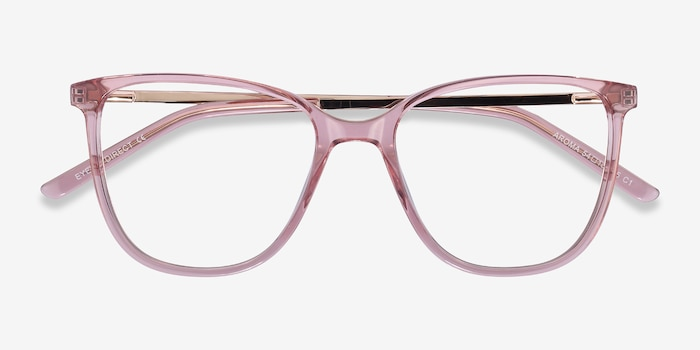 Aroma Pink Metal Eyeglass Frames from EyeBuyDirect, Closed View