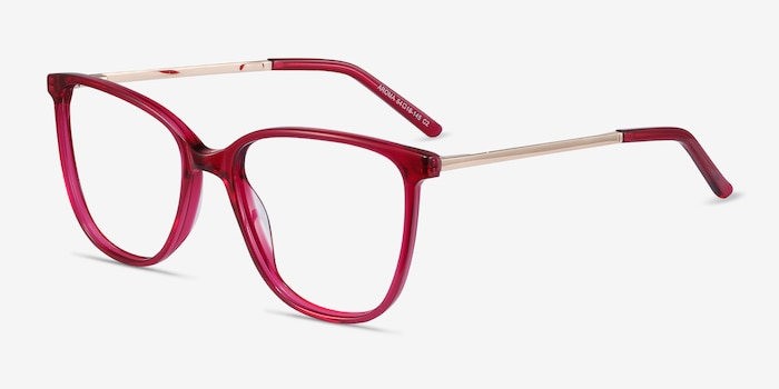 Aroma Raspberry Acetate Eyeglass Frames from EyeBuyDirect, Angle View