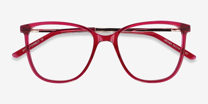 Aroma Raspberry Acetate Eyeglass Frames from EyeBuyDirect, Closed View