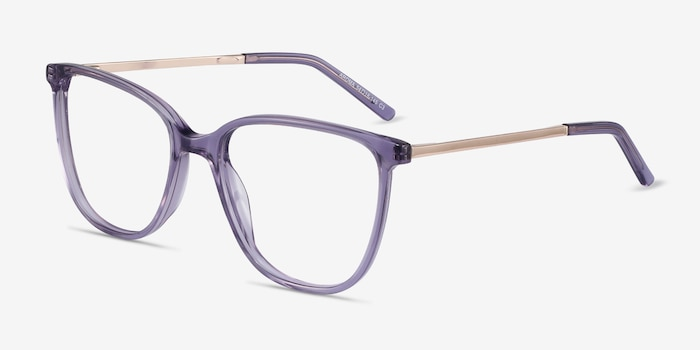 Aroma Purple Metal Eyeglass Frames from EyeBuyDirect, Angle View