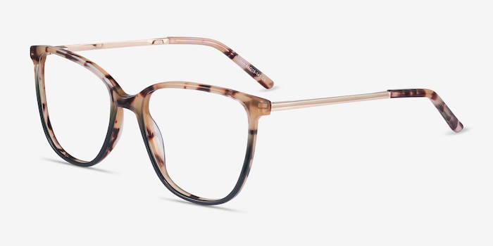 Aroma Tortoise Green Metal Eyeglass Frames from EyeBuyDirect, Angle View