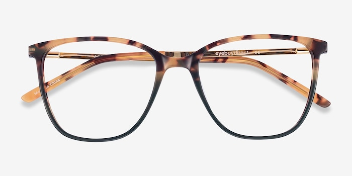Aroma Tortoise Green Acetate-metal Eyeglass Frames from EyeBuyDirect, Closed View
