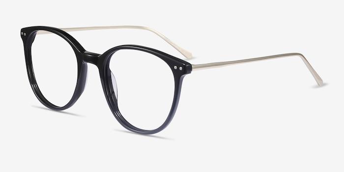 Oriana Black Metal Eyeglass Frames from EyeBuyDirect, Angle View