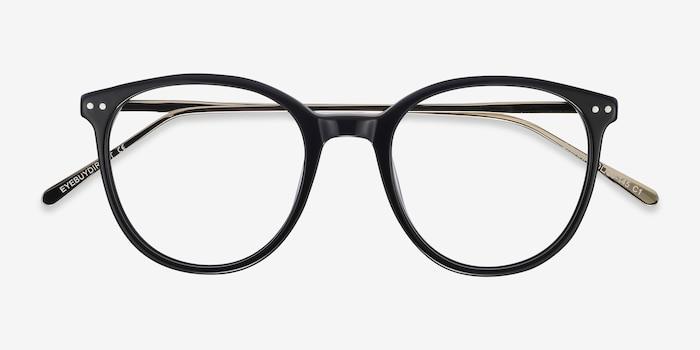 Oriana Noir Acétate Montures de Lunettes d'EyeBuyDirect, Vue Rapprochée