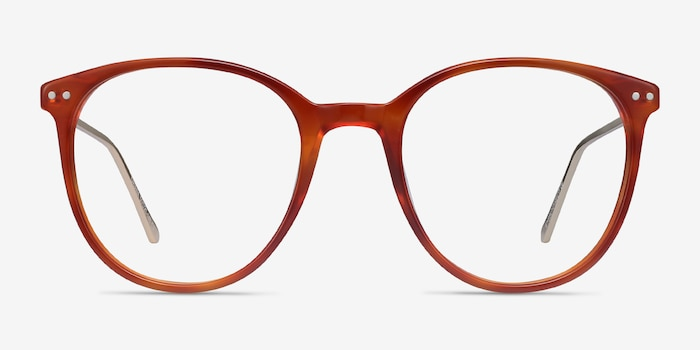 Oriana Orange Acetate Eyeglass Frames from EyeBuyDirect, Front View