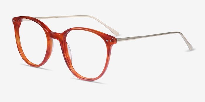 Oriana Orange Acetate Eyeglass Frames from EyeBuyDirect, Angle View