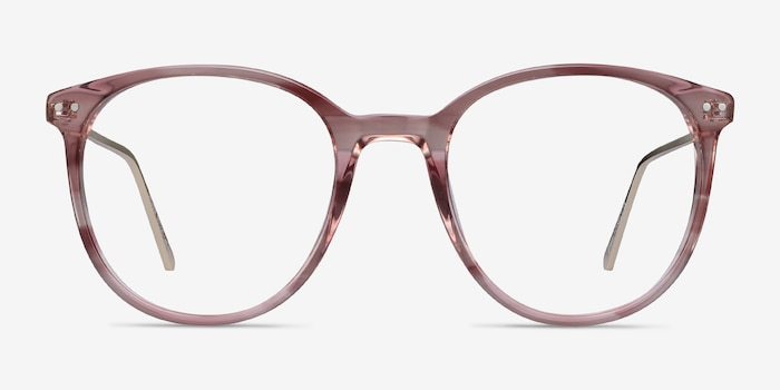 Oriana Pink Metal Eyeglass Frames from EyeBuyDirect, Front View