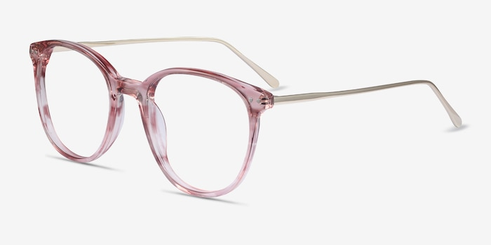 Oriana Pink Metal Eyeglass Frames from EyeBuyDirect, Angle View