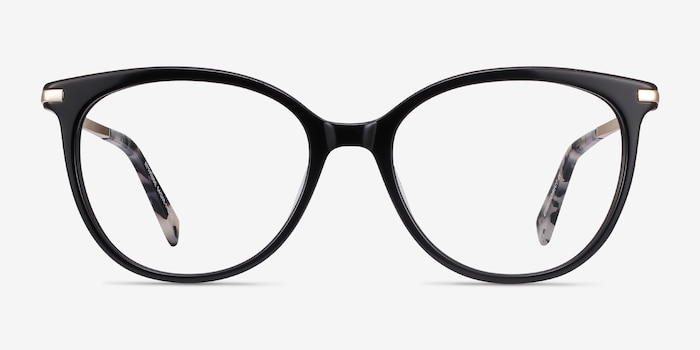 Attitude Black Acetate Eyeglass Frames from EyeBuyDirect, Front View