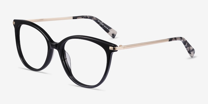 Attitude Black Acetate Eyeglass Frames from EyeBuyDirect, Angle View