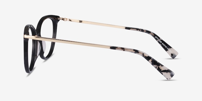 Attitude Black Acetate-metal Eyeglass Frames from EyeBuyDirect, Side View