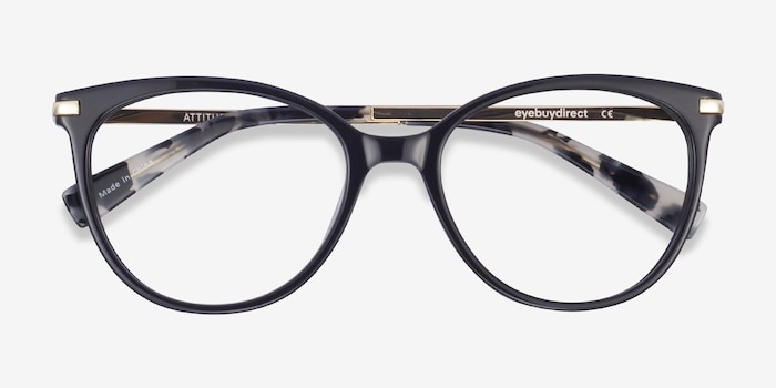 Attitude Black Metal Eyeglass Frames from EyeBuyDirect, Closed View