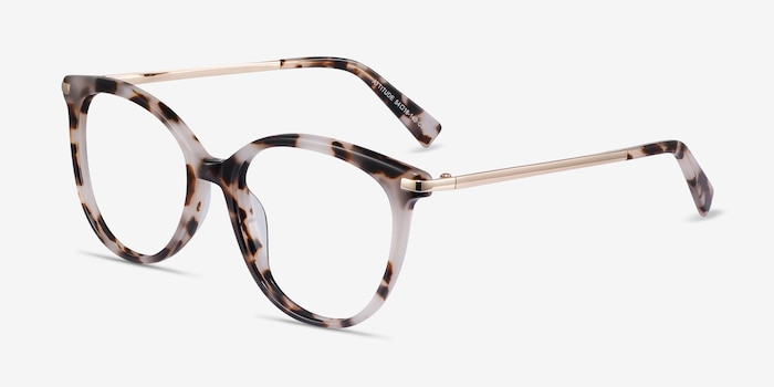 Attitude Ivory Tortoise Metal Eyeglass Frames from EyeBuyDirect, Angle View