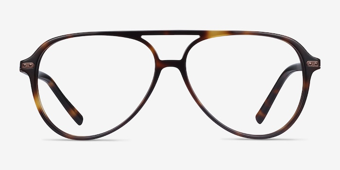 Viento Warm Tortoise Metal Eyeglass Frames from EyeBuyDirect, Front View