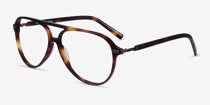Viento Warm Tortoise Metal Eyeglass Frames from EyeBuyDirect, Angle View