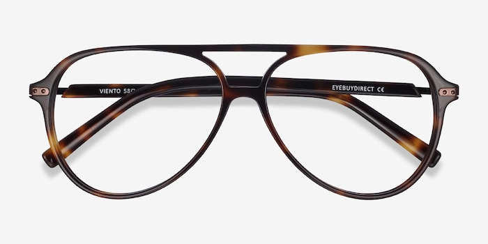 Viento Warm Tortoise Metal Eyeglass Frames from EyeBuyDirect, Closed View