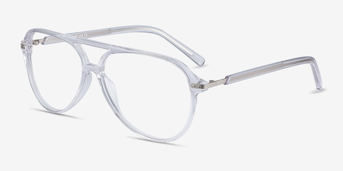 Viento Clear Metal Eyeglass Frames from EyeBuyDirect, Angle View