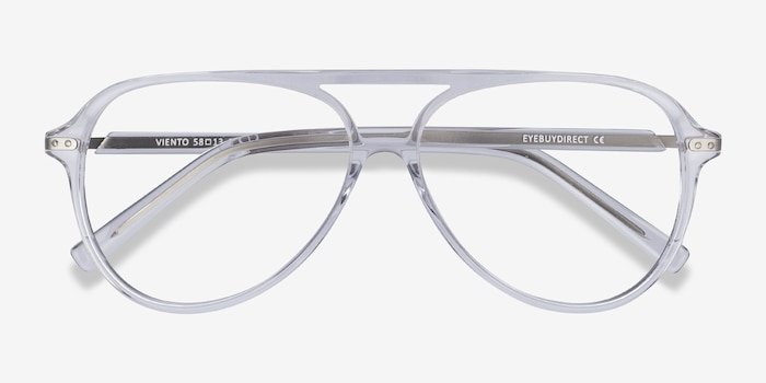Viento Clear Metal Eyeglass Frames from EyeBuyDirect, Closed View