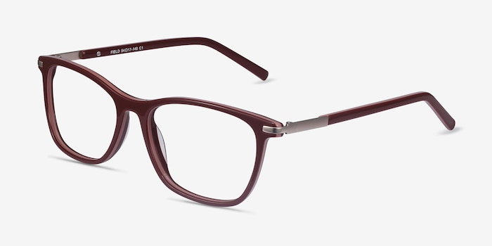 Field Burgundy Acetate-metal Eyeglass Frames from EyeBuyDirect, Angle View