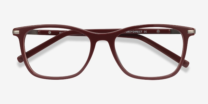 Field Burgundy Acetate-metal Eyeglass Frames from EyeBuyDirect, Closed View