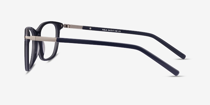 Field Navy Metal Eyeglass Frames from EyeBuyDirect, Side View