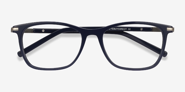 Field Navy Metal Eyeglass Frames from EyeBuyDirect, Closed View