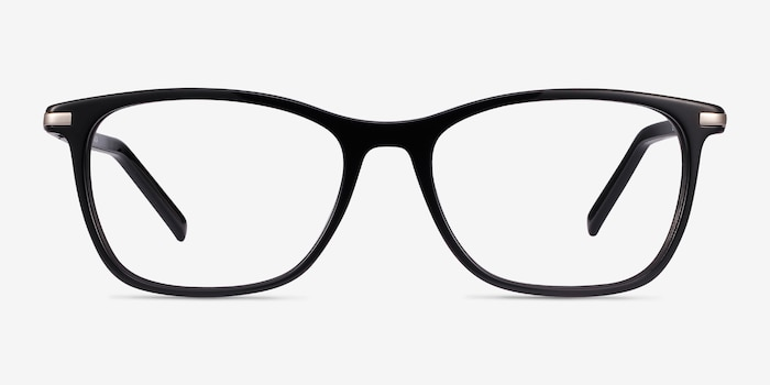 Field Black Acetate-metal Eyeglass Frames from EyeBuyDirect, Front View